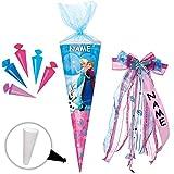 Unbekannt Set _ Schultüte + 5 kleine Zuckertüten -  Disney die Eiskönigin - Frozen  - 22 cm - rund - incl. Name und individueller großer Schleife - mit Tüllabschluß -..