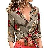 ESAILQ Frauen Casual Printed Button up Shirt Bluse Tops(M,Grün)