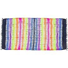 MANUMAR Sarong mujer opaco | Toalla de playa Pareo con hebilla | Tela ligera en diseño batik con flecos | XXL oversize 215x115 cm | Motivos y colores | Paño ...