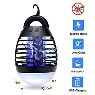 AUSHEN Bug Zapper Light Outdoor, 2 In 1 Portable USB Rechargeable Camping Lantern Mosquito Zapper Tent Light IP67 Waterproof Electric Fly Killer for Camping Hiking Travel