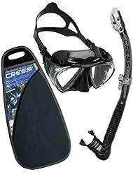 Cressi Conjunto Máscara & Tubo - Kit de Snorkel Unisex, Penta & Alpha Ultra Dry, Negro/Gris