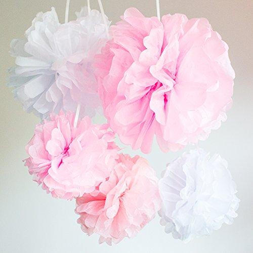 Werbewas 6er Set Pompoms aus Seidenpapier für Blumen / Bälle als Deko für Hochzeiten, Feiern, Partys, Geburtstage, Baby Shower, Taufe und Weitere Anlässe – Weiß, Pink, Rosa jeweils in 20, 30 cm
