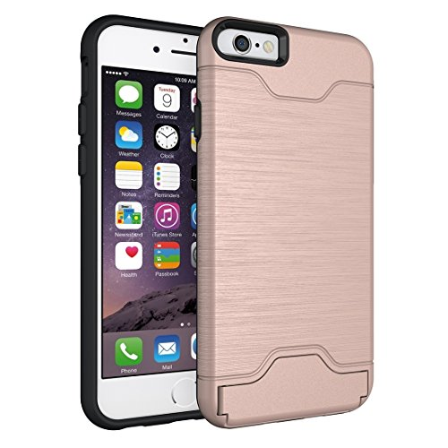 Phone case & Hülle Für iPhone 6 Plus / 6s Plus, gebürstete Textur abtrennbare TPU + PC Kombination zurück Fall mit Card Slot & Halter ( Color : Green ) Rose gold