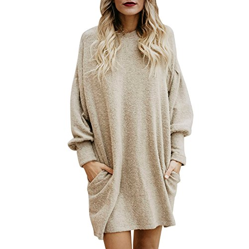 BaZhaHei Women Solid O-Neck Pocket Long Sweater Long Sleeve Casual Loose Pullover Tops Winter Autumn Women Dress T-Shirt Jumper Knitwear (UK:14, Beige)