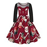 VEMOW Damen Elegantes Cocktailkleid Abendkleid Damen Mode Sleeveless Christmas Cats Musical Notes Print Beiläufig Täglich Vintage Flare Dress(X4-Weinrot, EU-50/CN-5XL)