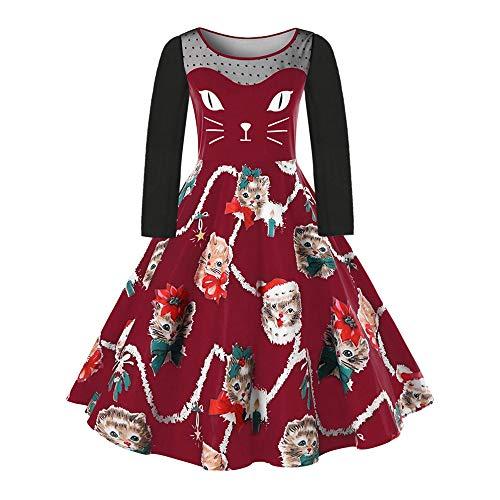 VEMOW Damen Elegantes Cocktailkleid Abendkleid Damen Mode Sleeveless Christmas Cats Musical Notes Print Beiläufig Täglich Vintage Flare Dress(X4-Weinrot, EU-42/CN-XL)