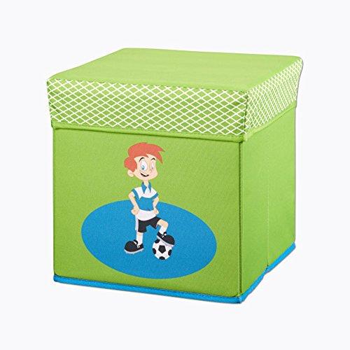 Sitz und Aufbewahrungsbox Spielzeugbox Staubox Spielzeug Kiste Truhe Bank Sitzbank für Kinder (Fußballer)