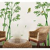 Kuke Wandtattoo Grün Bamboo und Vogel Abnehmbare DIY Wand-Aufkleber Wandsticker für Wohnzimmer Schlafzimmer (Fertigen Größe: 295 * 165 cm)