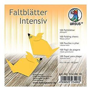 Ursus 3146819 - Hojas Plegables (100 Unidades, 65 g/m², 10 x 10 cm, para Artistas de Origami Grandes y pequeños, teñidas), Color Amarillo