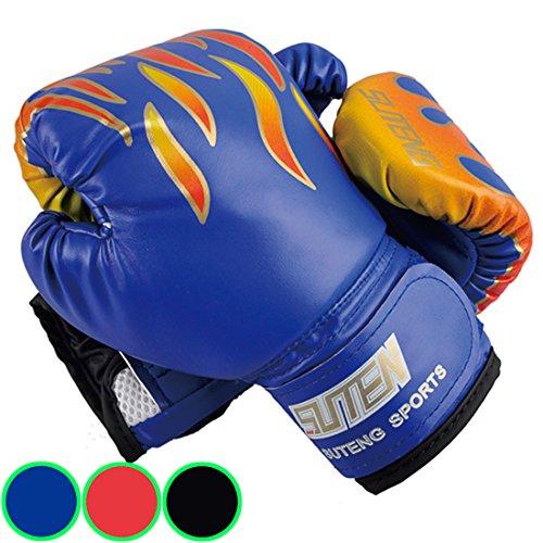 Kinder Boxhandschuhe mit Klettschluss Klein Box-Handschuhe für Kinder von 3 - 10 Jahre Training Gloves 6 Unzen zum MMA, Muay Thai, Kickboxen und Sandsack sport - rot / schwarz / blau