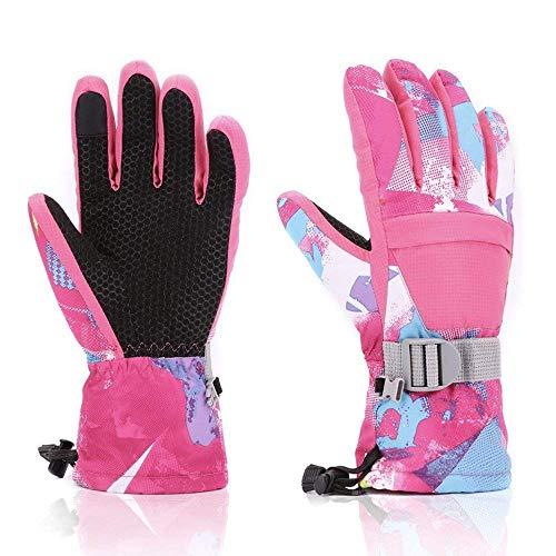 coskefy Skihandschuhe Herren Damen Winter Fahrradhandschuhe Warm Winddicht Rutschfest Wasserdicht Atmungsaktiv Paar Schnee Handschuhe Sport Schi Motorradfahren Radfahren Wandern (Pink-4)
