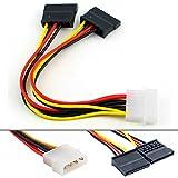 Ociodual - Set di 2 cavi adattatore di alimentazione da IDE Molex a SATA, per hard disk, CD, DVD, PC, ecc