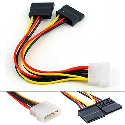 Adaptador de Cable de Alimentación IDE Molex a SATA x2 para Disco Duro CD DVD PC