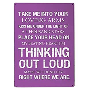 Artylicious Ed Sheeran, Thinking Out Loud lyrics (Purple) quote A4 metal sign plaque wall art