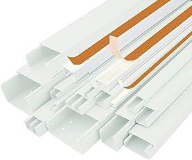 StilBest Kabelkanal 12m 20 x 10 mm Selbstklebend PVC Installationskanal für Wand und Decken Montage Allzweck Kabelleiste Weiß