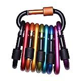 AMGO 10 farbigen Karabiner Schraubkarabiner Schlüsselanhänger Karabinerhaken Normalkarabiner für Trinkflasche, Gepäckstücken, Schlüsselanhänger oder Wanderung, Radsport, Reise