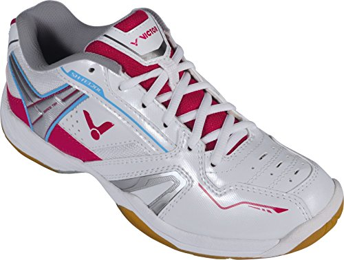 VICTOR SH-A320L Damenschuh / Indoor Sportschuh / Badmintonschuh / Squashschuh / Hallenschuh, Weiß/Pink