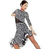 kekafu Wir Latin Dance Kleider Frauen Performance Training Tier Kleid, Zebra, M