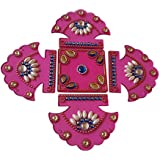 Anaya Industries Acrylic Rangoli (24 Cm X 1 Cm X 24 Cm, Pink, Set Of 5)