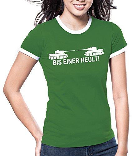 Touchlines Damen Bis einer heult ! Girlie Ringer T-Shirt B9047 Vert (Kelly Green)