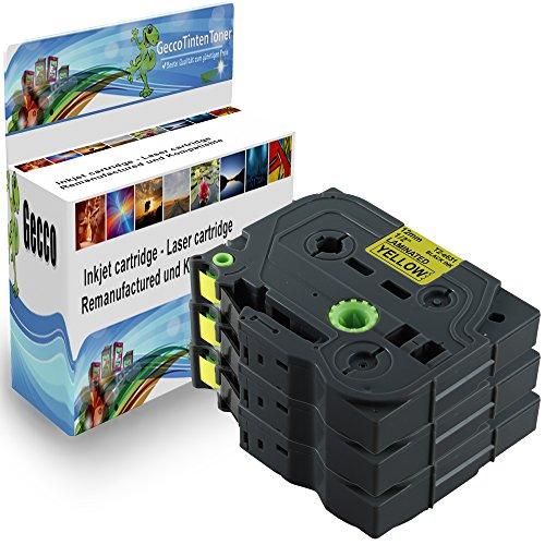 Premium 3x Cassetta Nastro Laminato Tape cassette per TZ Tape 631 TZ631 TZE631 TZE-631 TZE 631 TZ 631 TZ-631 12mm Nero su Giallo per Brother P-Touch GL200 D200 E100 H100R H105 H300 1000 1010 1090 1230PC 2030VP 7100VP 1800 1250VP 1260VP 2430PC 3xTZ-631