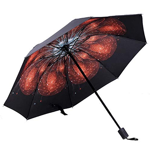 JUNDY Regenschirm, Mini Umbrella Leicht,Taschenschirm, faltender Visier-Sonnenschutz- Kreativer Regenschirm faltbar aus schwarzem Kunststoff Schirmfarbe2 99cm -