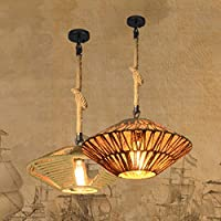 Mediterrane Loft Kreative UFO Pendelleuchte Lampe Retro Café Bar Restaurant  Industrieller Hanf Seil Anhänger