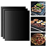 BBQ Grillmatte Backpapier (3er Set) Teflon Antihaft zum Grillen und Backen,Barbecue Grill Matte Backmatte Wiederverwendbar für Holzkohlegrill, elektronischen Grill, Backofen, Dampf Backofen,Mikrowelle