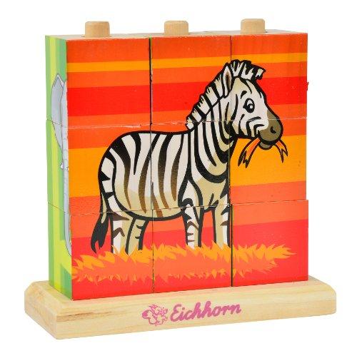 Eichhorn 100003623 - Puzzle in legno con 9 cubetti, uno sfondo per ciascuno dei 4 lati del cubo