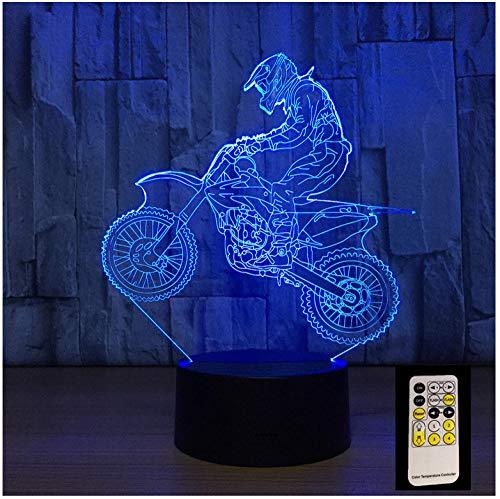 Nachtlicht NachttischLampee 3D Motocross Bike Night Remote Touch Control Illusion Table Lampes 7 Colors Usb Change Desk Lampe Lampe Nachtlicht Kids Gift