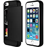 Black XYLO-ARMOUR Hard Back Ultra Slim Cover / Skin / Case with Card Holder for the Apple iPhone SE / 5s / 5. Includes ClearICE Screen Protector Guard.