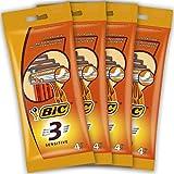 BIC 3 Sensitive Rasoirs Jetables pour Homme - Lot de 4 Pochettes de 4