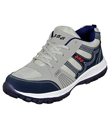 Jollify Men's Grey Mesh Sports Shoes - 13