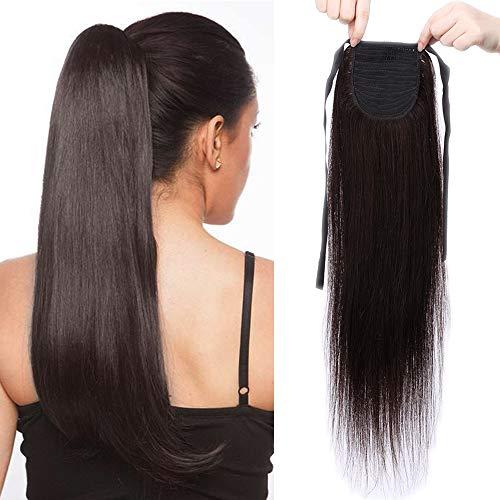 Sego extension coda di cavallo capelli veri clip #2 castano scuro 100% remy human hair lisci umani ponytail extension fascia unica lunga wrap 20