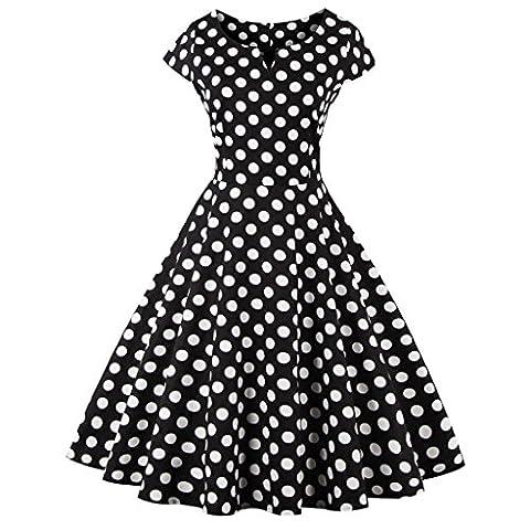 FAIRY COUPLE 1950S Vintage Rockabilly Polka Dots Cap Sleeves Prom Dress DRT019(S, Black Dots)