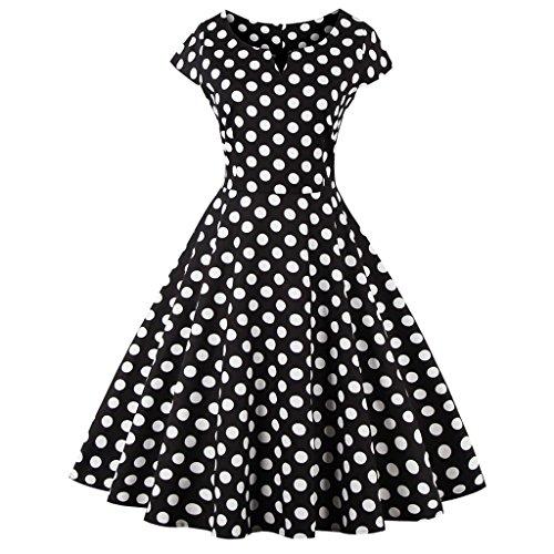 FAIRY COUPLE 1950S Retro Rockabilly Tupfen Kappen Hülsen Abschlussball Kleid DRT019(S,Schwarze Punkte) (Ärmel Lange Linie Feine)