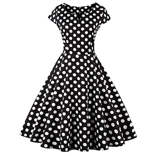 FAIRY COUPLE 1950S Retro Rockabilly Tupfen Kappen Hülsen Abschlussball Kleid(XS,Navy blau)