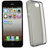 xubix Hülle iPhone 5 5S Tasche - TPU Skin Silikon Case Schutzhülle in Transparent Schwarz + iPhone 5 Displayschutzfolie