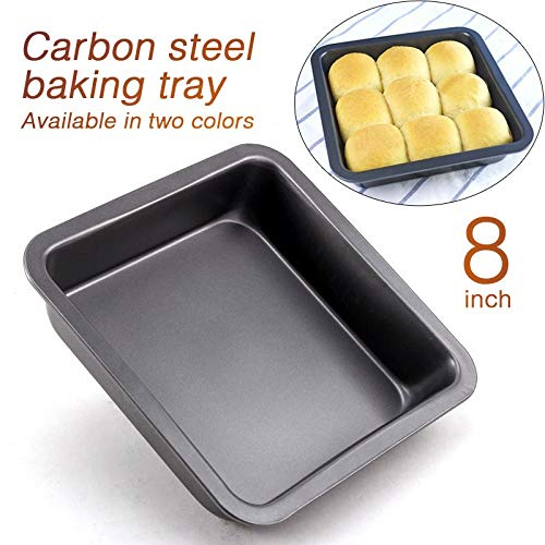 Zollyss 8 inch Square Cake Pans Carbon Steel Bread Baking Pan Tray for Microwave Oven Non-Stick Cookie Cake Molds, 1Pc