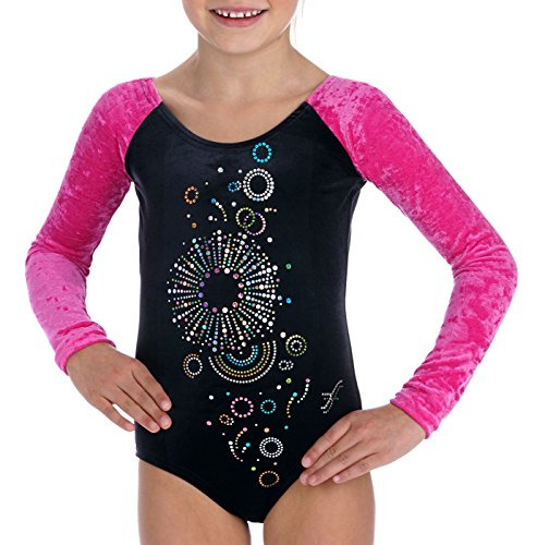 Fischer 8134 Bunter Gymnastikanzug Tammy mit Glitzer Pailletten, Samt, Ökotex 100 Zertifiziert, Größe: 152, Farbe: schwarz-pink - Pink Damen-tanz-trikot