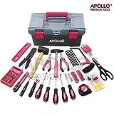 Apollo Kit Rose d'Outil 170 pièces pour Madame, avec Bîote Portable, Outil Pink Durable pour Ménager, Bricolage, Entretien Domestique