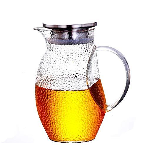 JASNO Wasserglaskrug 1.3L, Eiskalter Saft-Dekantiergefäß Mit Edelstahldeckel, Borosilikatglas-Hitzebeständiges Glaskaraffe-Kessel Für Rotwein, Wein, Saft, Milch, Eiskaltes Wasser, Heißer Kaffee, Ect Gas Pump Dispenser