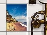 creatisto Fliesen kleben | Dekorativ-Aufkleber Folie Sticker Badfolie Küchen-Fliesen Badgestaltung | 15x20 cm Design Motiv Longboat Beach - 1 Stück