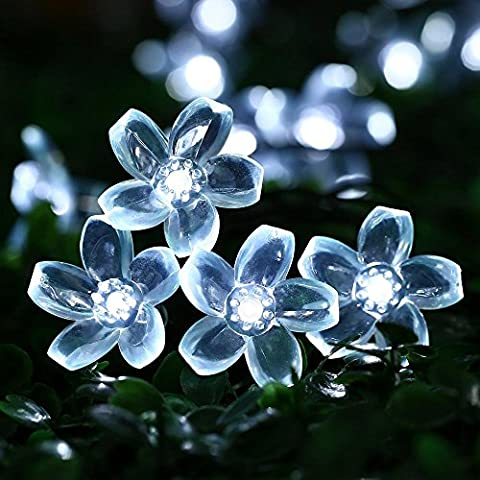 Outside Solar String Lights Outdoor Waterproof LED Flowers Decorations, 23 Ft 50 Fairy Warm White LEDs Blossom Garden Lighting for Christmas,Patio,Lawn,Fence,Holiday (Pure White)