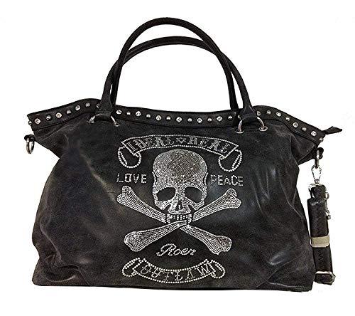 TOTENKOPF skull Hand Tasche Schultertasche Umhängetasche Beuteltasche Shopper XL (Schwarz (verwaschen))