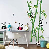 decalmile Panda Bear and Bamboo Wall Decals Kids Wall Stickers Baby Nursery Bedroom Living Room Wall Decor