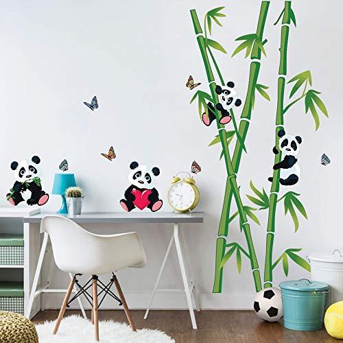 decalmile Stickers Muraux Panda et Bambou Autocollant Décoratifs Chambre Bébé Décoration Murale...