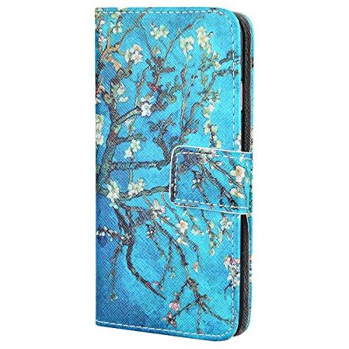 SMART LEGEND für iPhone 7 Ledertasche Hülle(4.7 Zoll) Lederhülle Brieftasche Handyhülle mit Mandala Muster Premium Schutzhülle Wallet Case Ledercase Design Neu Zubehör im Bookstyle Cover Schale mit St Baum