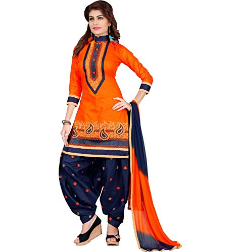 Designer Orange Cotton Embroidered patiala Suit