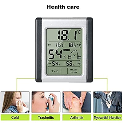 CohCoh Humidity Meter, Hygrometer with Touchable Screen, Multifunctional Digital Temperature Humidity Monitor with Accurate Readings for Home Office, One Button Battery included